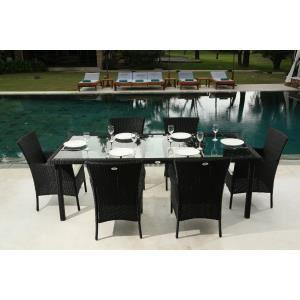 Ensemble table 220cm et 6 fauteuils résine tressée