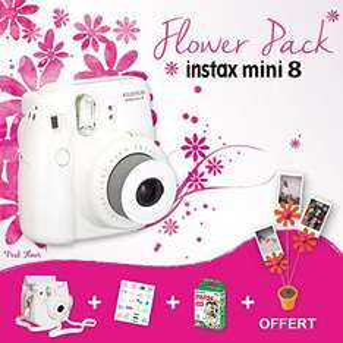Appareil photo instantané Fujifilm Instax Mini 8 + 10 films + Housse + Stickers + Porte-photos