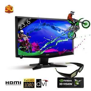 """2 écrans PC Acer (24"""" et 27"""") 3D LED Full HD lunette incluse à bon prix"""