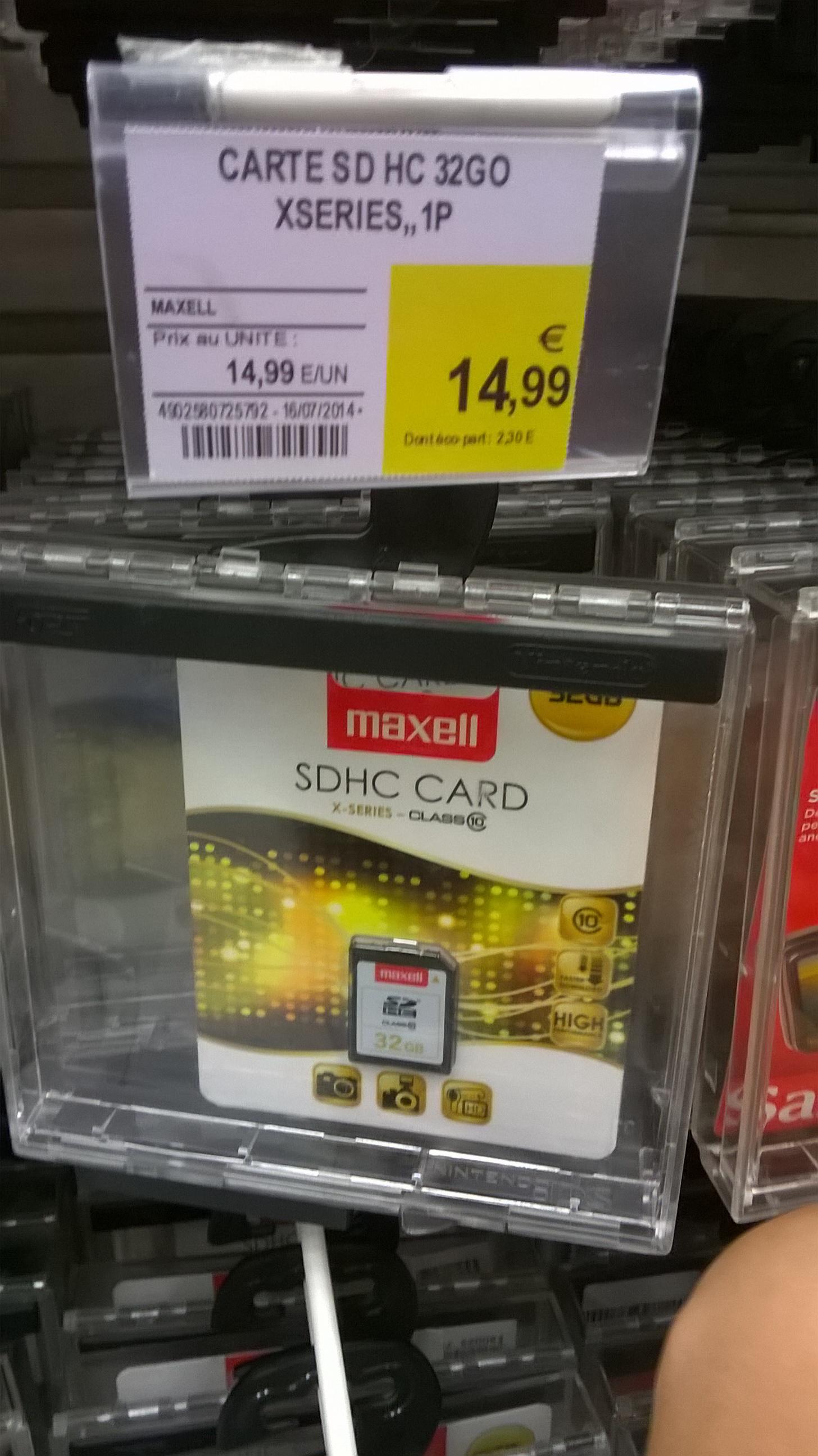 Carte mémoire SDHC Maxell Classe 10 - 64 Go à 29.99€, 32Go à 14.99€, 16 Go à 7.99€, 8 Go