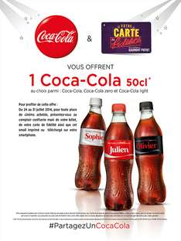 1 coca-cola offert pour une place achetée