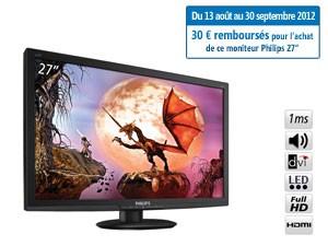 """Ecran PC LED 27"""" Philips 1ms FULL HD VGA / DVI / HDMI avec ODR (30€) et code promo"""
