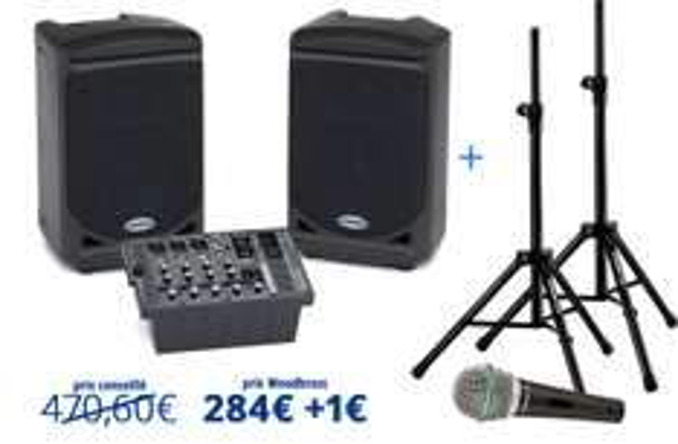 Pack Deluxe Samson Expedition XP150 (enceintes, table de mixage, micro, paire de stands, et housse de transport)