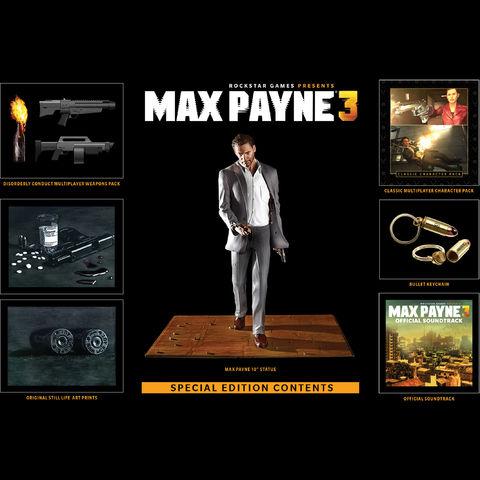 Pack de goodies Max Payne 3 : Figurine, porte clé, OST...