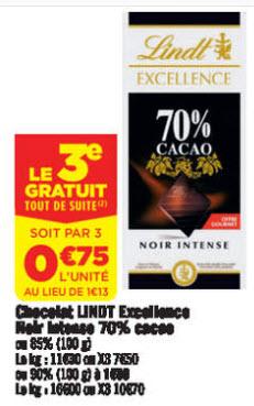 Lot de 3 Tablettes chocolat noir Lindt Excellence 70 ou 85 % cacao 2 + 1 Gratuit (300g)
