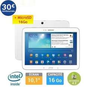 "Tablette Samsung Galaxy Tab 3 10,1"" 16Go + Carte SD 16Go (avec ODR 30€)"