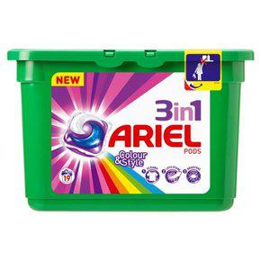 3x Lessive capsules couleur Ariel 3 en 1 pods (19 lavages)