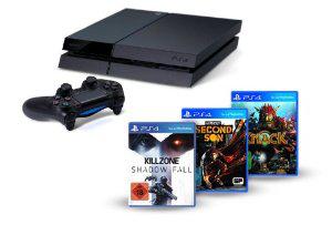 Console PlayStation 4 + 3 jeux (Killzone Shadow Fall, Knack et inFamous Second Son)+ -20€ sur 4ème jeu