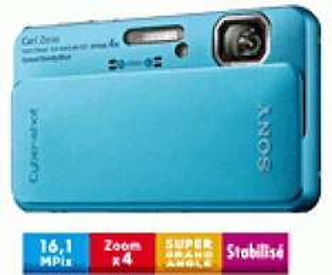 Sony Cyber-shot DSC-TX10 Bleu (Etanche -5m et Photo 3D)