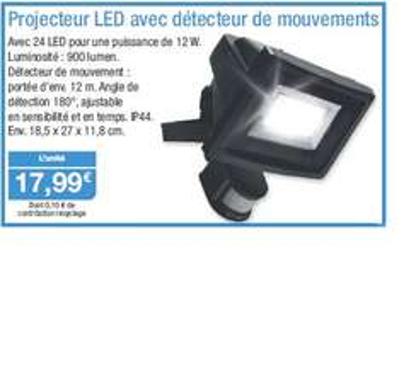 Projecteur LED avec détecteur de mouvements