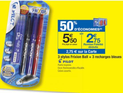 3 stylos Pilot Frixion ball + 3 recharges (50% sur la carte)