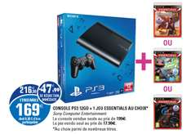"Console PS3 12Go + 1 jeu (parmi 3 ""essentials"")"