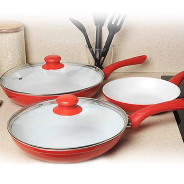 Set de 3 poêles céramique Ceramic Chef Pan + 2 couvercles