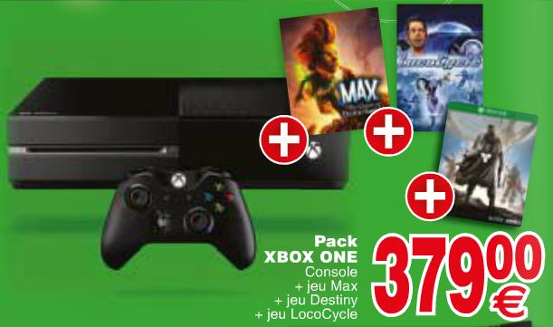 Console Xbox One + 3 Jeux (Destiny, Max, Lococycle)
