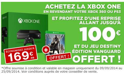 La PS3/Xbox 360 reprise jusqu'à 100€ pour l'achat d'une Xbox One (+ jeu Destiny offert)