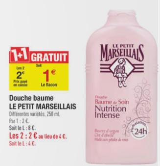 Lot de 2 gel douche Savon Le petit marseillais 250 ml