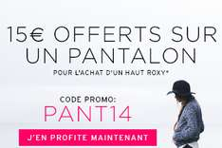 15€ offerts sur un pantalon pour l'achat d'un haut en ligne et