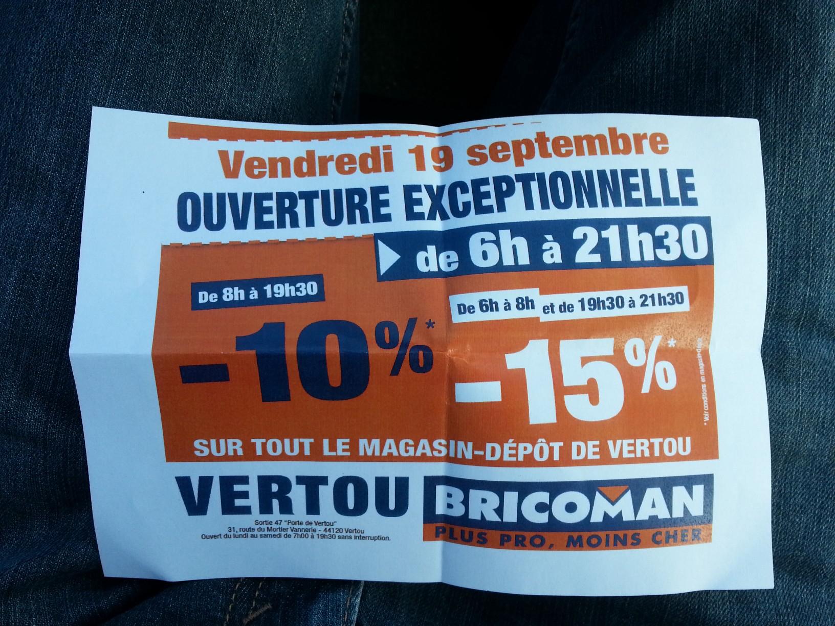 -10% à -15% sur tout le magasin (Bricolage)