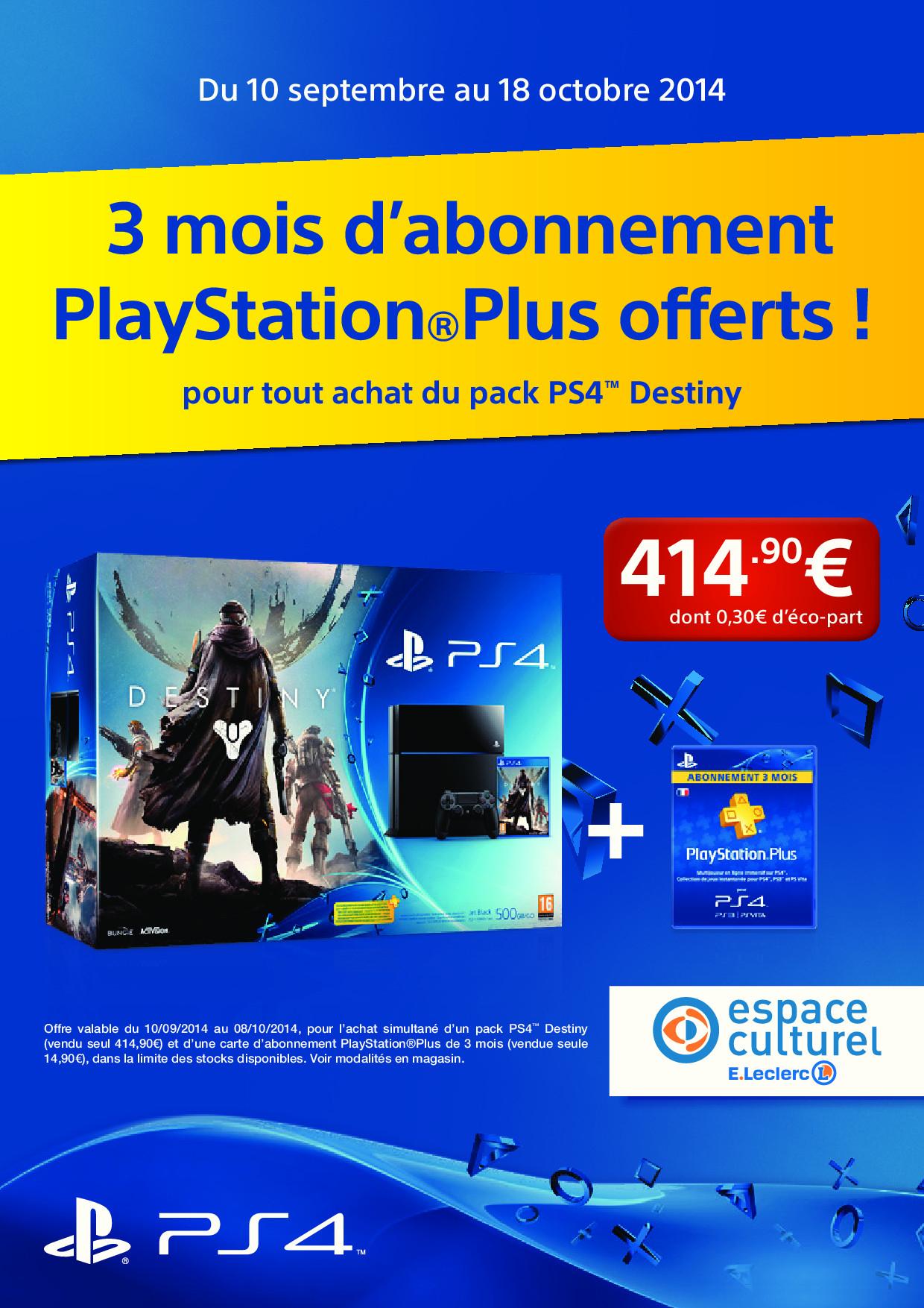 Console Sony PlayStation 4 + Destiny + Abonnement de 30 jours au PlayStation+