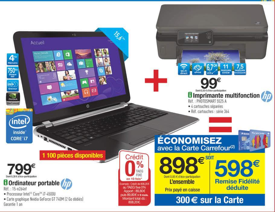 "PC portable 15,6"" HP 15-N264NF( i7, 750 Go, 4Go, 2Go NVIDIA )+ Imprimante HP Photosmart 5525 e-All-in-One (avec 300 euros sur carte fidélité)"