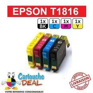 Pack de 4 cartouches pour imprimante (compatible Epson Expression Home XP312 XP315 XP402 XP405)