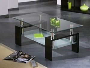Table basse INTERLINK noire, noyer, wengé ou blanc frais de port inclus