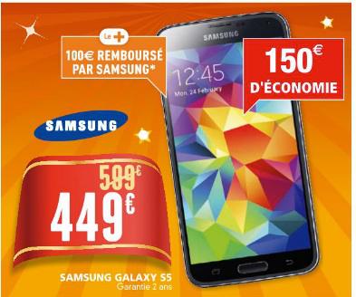 Smartphone Samsung Galaxy S5 (avec ODR 100€ pas sûr)