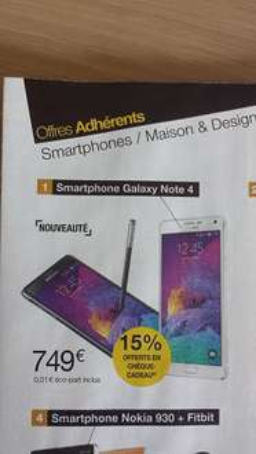 Smartphone Samsung Galaxy Note 4 + 15% en bon d'achat (Avec ODR 70€ )