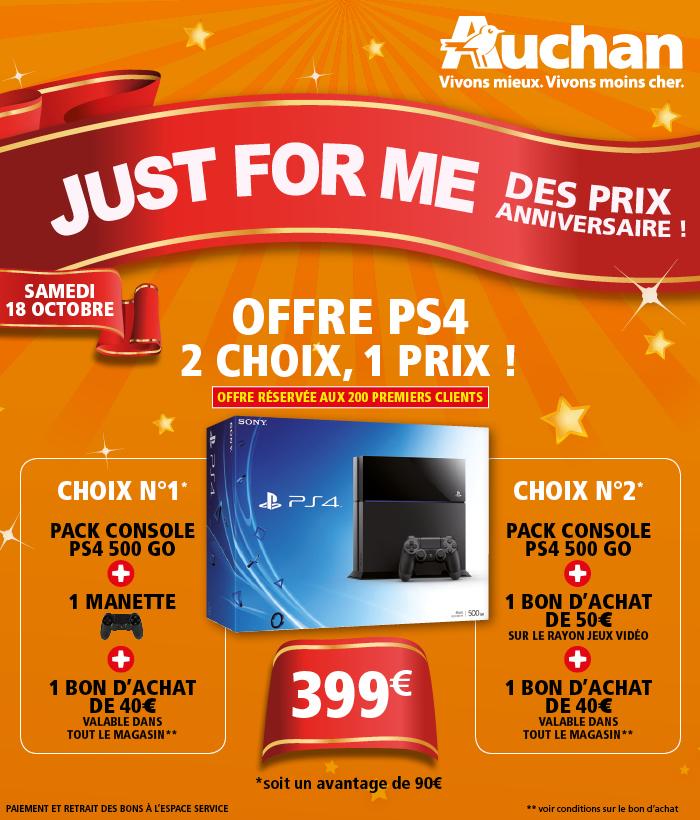 Console Sony PS4 + Une manette supplémentaire + 40€ en bon d'achat
