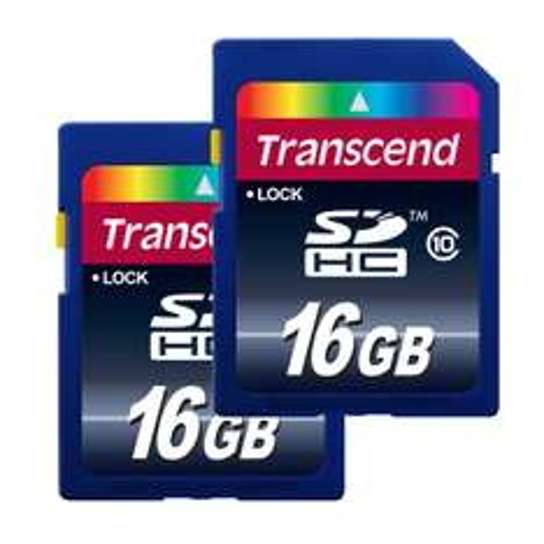 Pack de 2 Cartes mémoire 16 Go Transcend TS16GSDHC10 SDHC Classe 10
