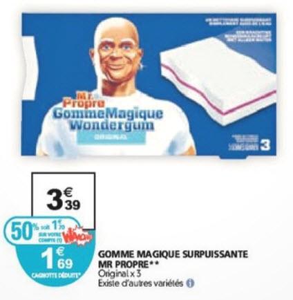 Gomme magique surpuissante Mr Propre (avec 50% sur la carte fidélité)