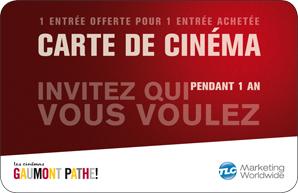 Carte cinéma (2 places pour le prix d'une) offerte pour tout achat supérieur à 29€