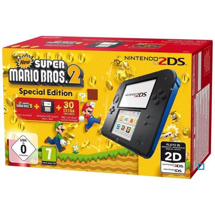 Pack Console Nintendo 2DS bleue + New Super Mario Bros 2