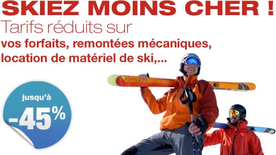 Jusqu'à -45% sur vos forfaits et locations de matériel de ski
