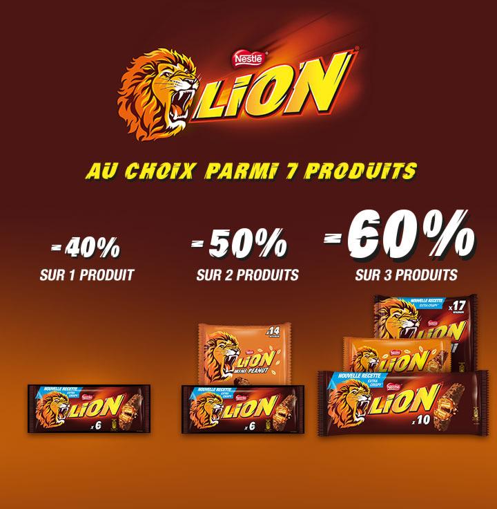 Lot de 6 Barres chocolatées Lion  (via shopmium et bon de réduction)
