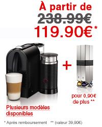 Pack cafetière Nespresso U Milk ou Citiz & Milk + Porte capsules (avec ODR 80€)