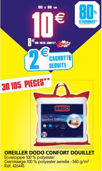 Oreiller Dodo confort douillet 60 x 60 cm (8€ sur cagnotte)