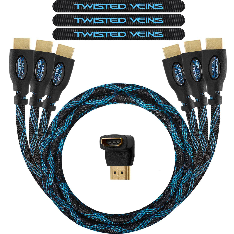 Lot 3 câbles HDMI 1.4 Twisted Veins 90cm + 1 adaptateur coudé HDMI + 3 sangles Velcro
