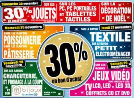 30% de réduction en bon d'achat sur différents rayons