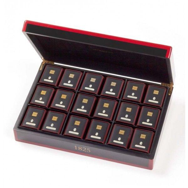 Coffret thé en bois laqué 18 boites métal Dammann