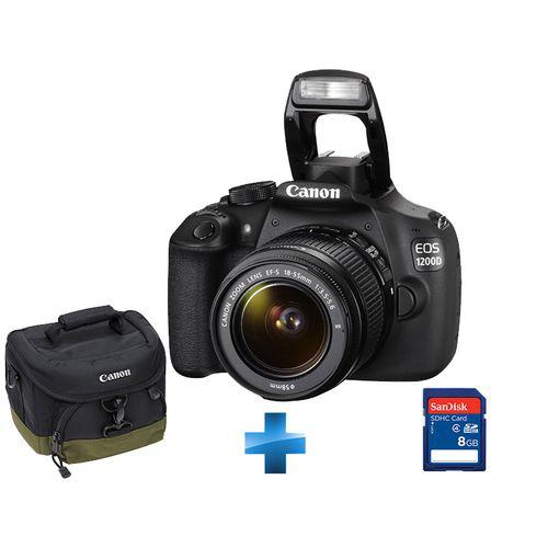 Appareil photo  Réflex Canon  EOS 1200D + Objectif 18-55 mm + Fourre-tout + SD 8 Go