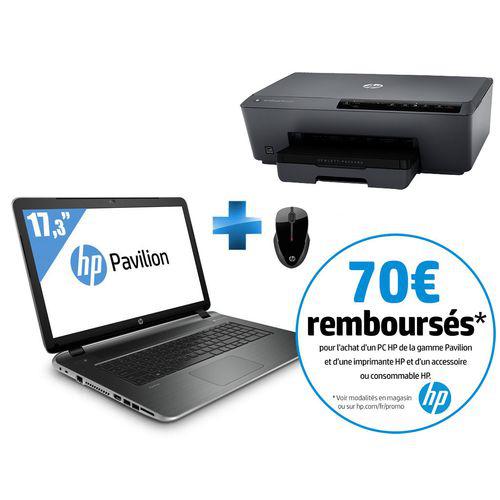 """Pc portable 17.3"""" HP Pavilion 17-F197NF+ Imprimante HP Officejet 6230 + Souris sans fil (ODR 70€)"""