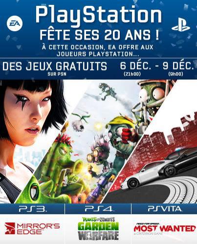Plants VS Zombie Garden Warfare gratuit sur PS4, Need For Speed Most Wanted gratuit sur PS Vita, Mirror's Edge gratuit sur PS3