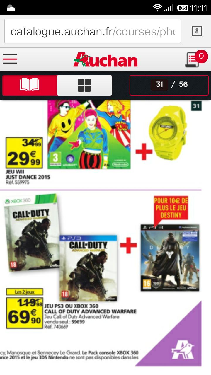 Jeu xbox 360 ou ps3 Call of duty Advanced Warfare + jeu destiny sur PS3 et Xbox 360
