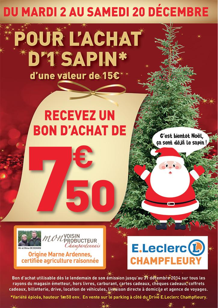 Pour l'achat d'un sapin (15€), recevez 7.50€ en  bon d'achat