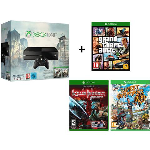 Console XBOX One + 5 Jeux (Killer Instinct, GTA V, Sunset Overdrive, Assassin's Creed Unity et Black Flag)