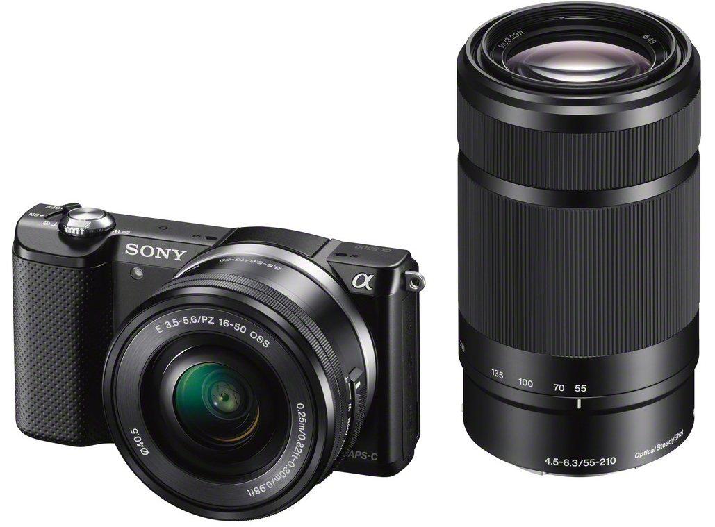 Appareil photo numérique hybride Sony A5000 + 2 objectifs: 16-50 mm rétractable et 55-210 mm