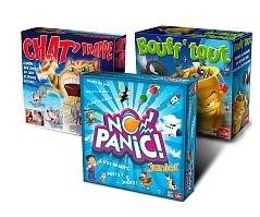Lot de 3 jeux  de sociétés  Goliath : Bouff'Tout + Chat' Trappe + No Panic Junior