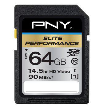 Carte mémoire PNY Elite Performance 64Go High Speed SDXC Class 10 UHS-1 / Tous frais inclus