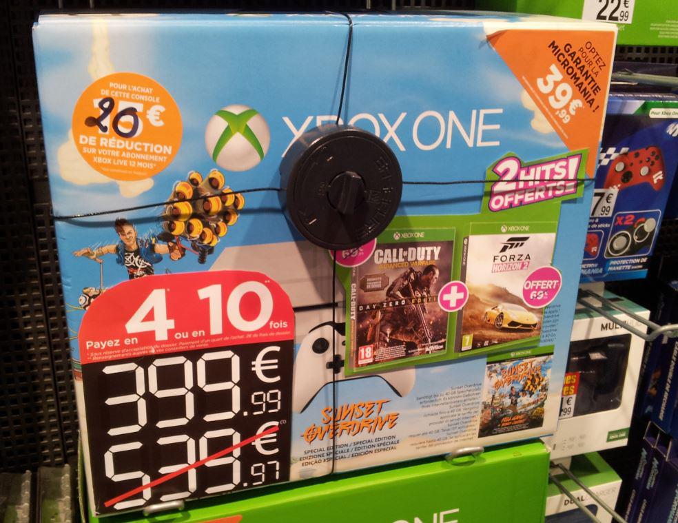 Pack console Xbox One blanche + Sunset Overdrive + COD: Advanced Warfare + Forza Horizon 2